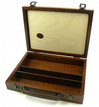 Luxusní dřevěný kufřík na barvy malý