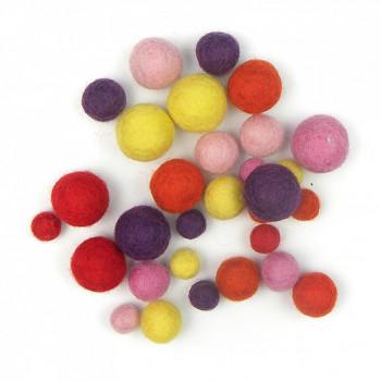 Plstěné kuličky mix - teplé barvy