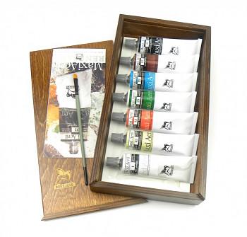 Sada akrylových barev MaxiAcril 7x60ml v dřevěné kazetě