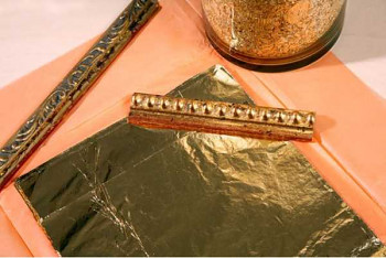 Plátky zlaté schlagmetall 2,5 16x16cm (100 plátků)