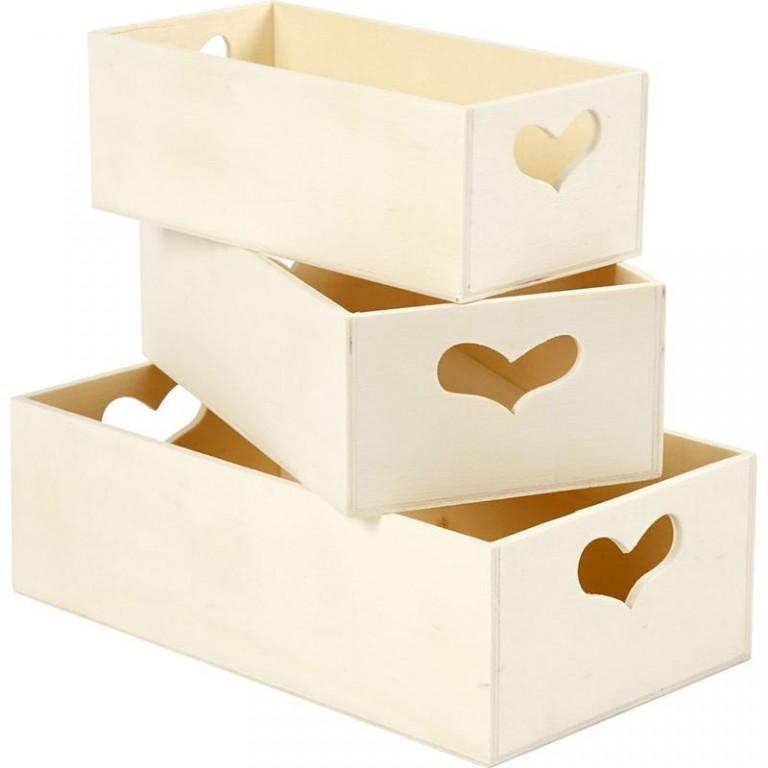41befd38a Dřevěné krabice se srdíčkem 3ks - výtvarné potřeby Novák