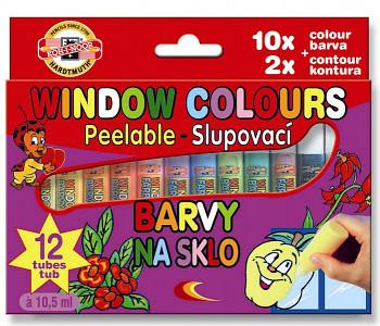 Window colors sada slupovacích barev na sklo 12ks