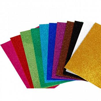 Moosgummi pěnovka třpytivá - sada 10 barev